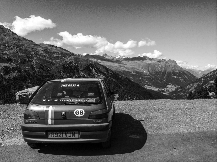 Team East four on a banger rally at the Timmelsjoch pass