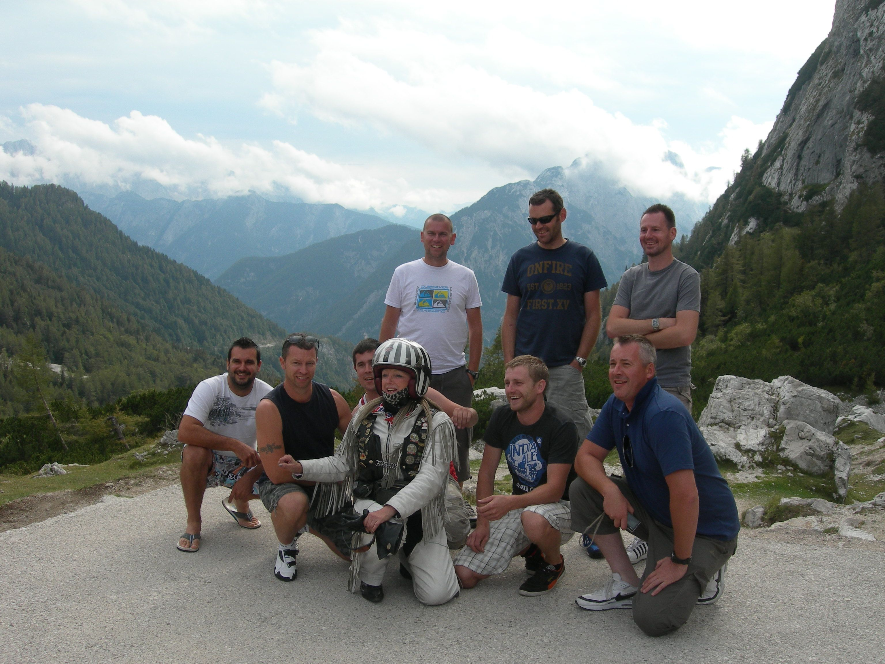 Motoscape banger rally participants at the top of the Vršič Pass