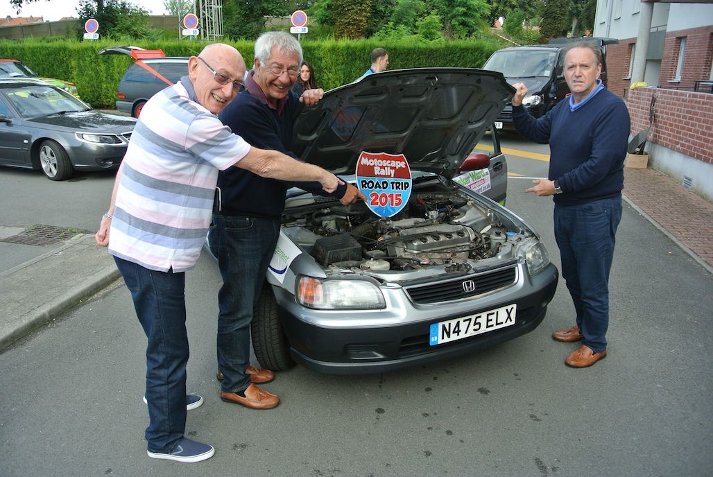 Rotary club of Birmingham team at start of Motoscape banger rally