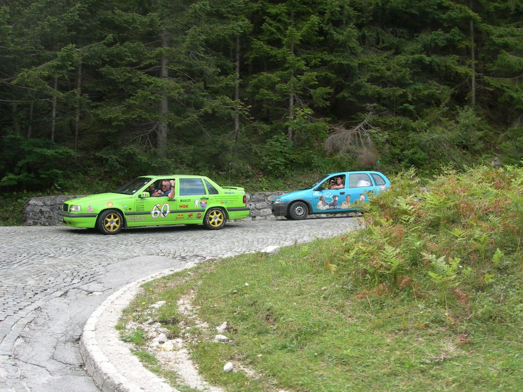 Two Motoscape rally teams on the cobbles of the Vršič Pass