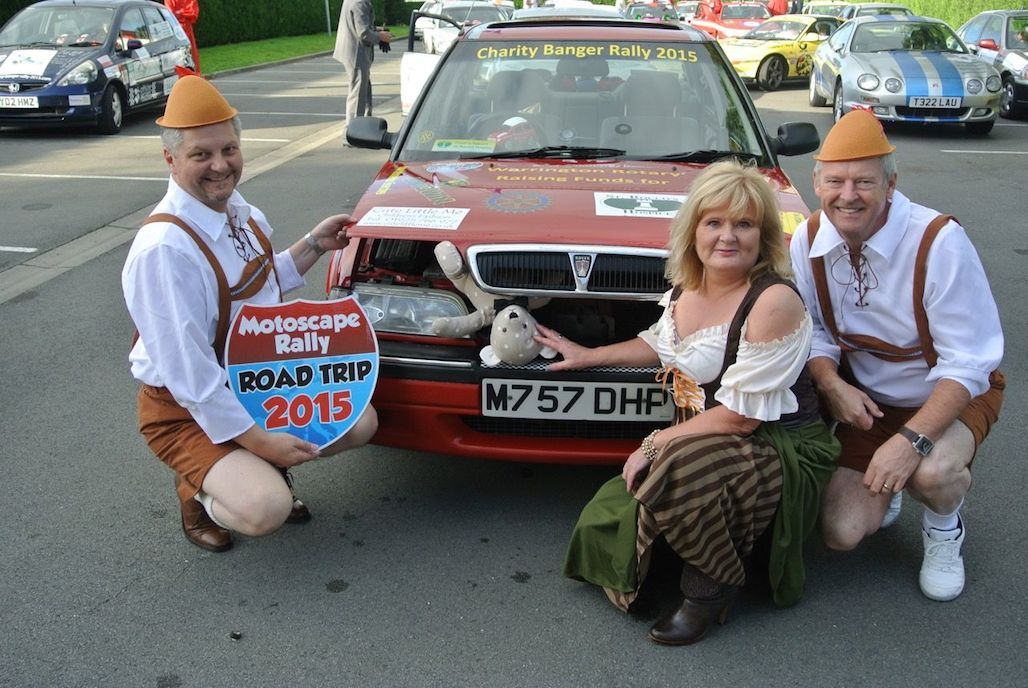 Warrington Rotary Team 1 at start of the Motoscape banger rally