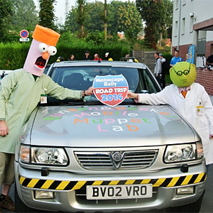 Bunsen and Beaker Banger at start of a charity rally