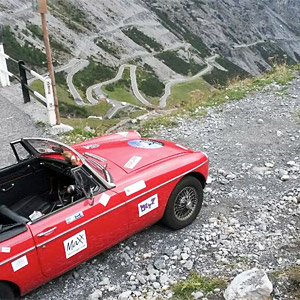 An MGB at the Stelvio Pass on day 4 of our classic car rally
