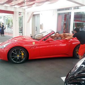 A Motoscape team test driving a Ferrari